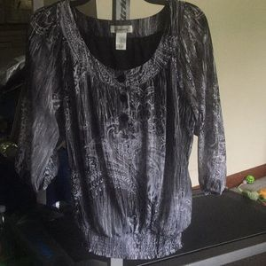 Dress Barn Black/Gray 3/4 Sleeve Blouse L